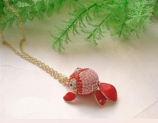 W4359 New Fashion Big Eyes Goldfish Red Long Necklaces