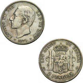 Alfonso XII 1874 1885 2 Pesetas 1879 Madrid Calico Trigo 39 KM 678 1