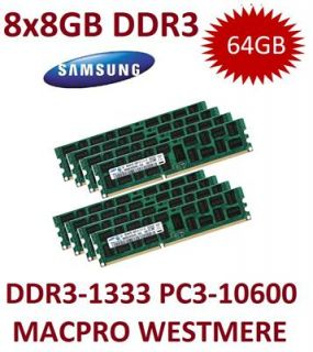 8x 8GB 64GB DDR3 1333 Mhz ECC REGISTERED RAM Westmere