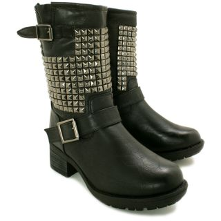 Neu Damen Stiefeletten Biker Ankle Boots Schuhe Flach Gr 36 41