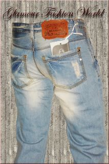HoT Style Destroyed Männer Jeans in Wash Optik Hellblau