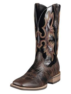 Ariat Mens Tombstone Genuine Leather Cowboy Boot Black/Brown 10006733