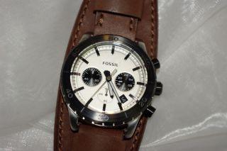 Fossil Herren Uhr Chronograph Keaton JR 1395 Edelstahl mit Lederband