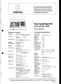 Körting Original Service Manual für Infracenter 699