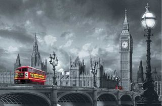 Fototapete RED BUS ON WESTMINSTER BRIDGE 175x115 London Big Ben Themse