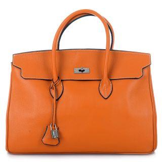 ROUVEN Orange & Silver ICONE GRACE 40 Tote Bag Leder Tasche Handtasche