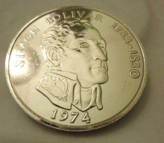 Silbermünze Münze 20 Balboas 1974 Simon Bolivar 925 er