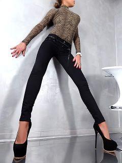 MISS BONBON DAMEN CHAIN BELT SEXY FIT HÜFT STRETCH JEANS HOSE PANTS