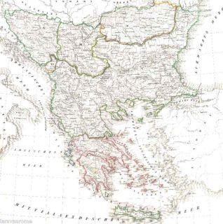 Antiquarische alte Landkarte Königreich GRIECHENLAND Greece Hellas