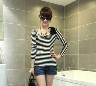 New Women Bowkont Shoulder Strip Crew Neck Slim T shirt Z713