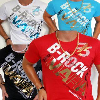 Polo Herren T Shirt Sweat Kurzarm Mafia Style Glanz Schwarz Gold M L