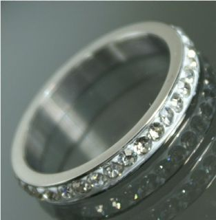 R729/17 Neu Luxus Edelstahl Ring m. Strass Stahl Schmuck Damen Mode