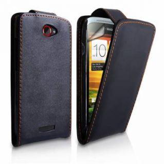 Handy LEDER TASCHE HTC ONE X Hülle Etui Case schwarz