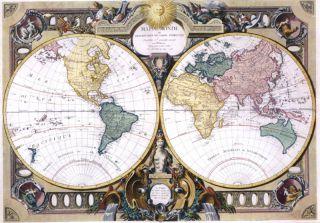 Vlies Foto Tapete Digital Weltkarte H 260 x B 372 cm