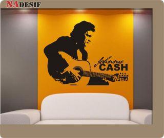 Wandtattoo Johnny Cash Sticker, Wandaufkleber, Musik