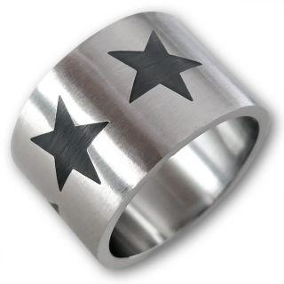 EDELSTAHL DESIGNER DAUMEN RING BREIT STERNE STARS ROCKABILLY eMo PunK