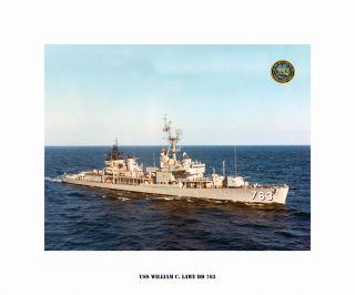 USS William C. Lawe DD 763 , US Naval Destroyer, USN Navy Ship Print