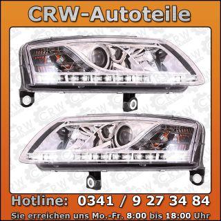 TOP Set Scheinwerfer Audi A6 C6 4F Bj. 04 08 Limo Avant klarglas/chrom