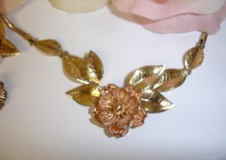 Krementz Rose Gold Filled GF Flower Brooch Necklace Earrings