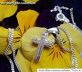 Kommunion Konfirmation Anhänger Kreuz diamantiert mit Kette 925