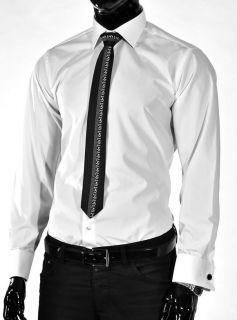 de Luxe Oberhemd Hemd Shirt Umschlagmanschette o Krawatte weiß 802