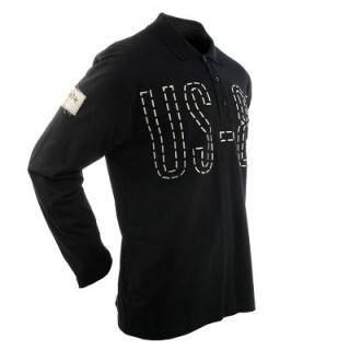 UNCLE SAM Poloshirt langarm, black Polo Shirt M   3XL mit Knopfleiste