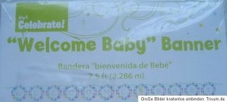 WELCOME BABY BANNER ~ GIRLANDE in GRÜN ~ GEBURT NEUTRAL ~ UNISEX