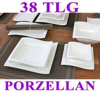 Porzellan 38 tlg Tafelservice Eckig Teller Set Geschirr 6 Personen Ess