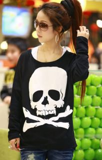 New Ladies Girl Comfy Summer Skull Casual Fun Top Shirt Jumper Hoodie