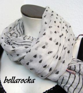 bellarocka HALSUCH anker herzen weiß schwarz uch Schal rockabilly