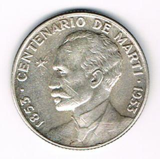 KUBA CUBA 25 CENTAVOS 1953 JOSE MARTI SILBER