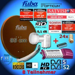 Digital SAT Anlage 8 Teilnehmer FUBA DAA850B Multischalter LNB FULL