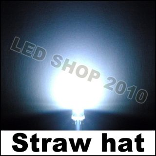 50 pcs 5mm Straw hat white LED Wide Angle Light lamp