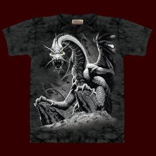 Fantasy Kinder T Shirt Schwarzer Drachen, gewaltiger Druck, Rundhals