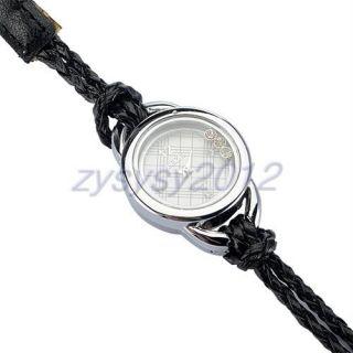 Fashion Ladys Black Double Wrap Crystal Braided Strap Wrist Watch