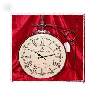 Bahnhofsuhr Wanduhr / Double sided wall clock 36 cm weiss