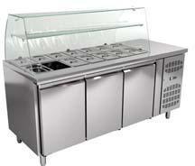 Morgan Saladette Kühltisch Salatbar 3xTüren mit Glasaufbau 14xGN1/4