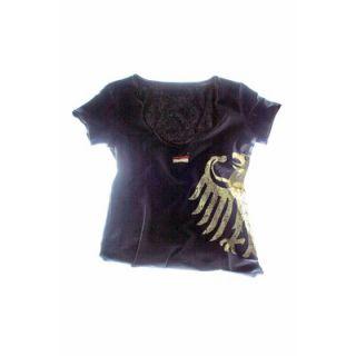 Rundhals Shirt T Shirt Shirt Deutschland Aufdruck Adler schwarz Damen