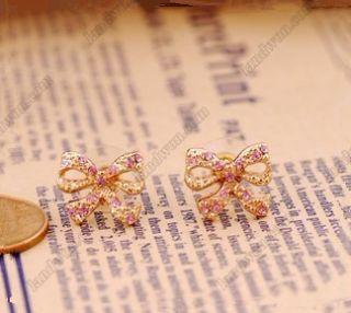 Gk4851 New Fashion jewelry Womens Retro Bowknot Diamond Earrings Stud