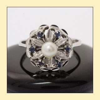 18kt 750 Weißgold Ring mit Perle und Saphiren Gold Saphirring Saphir