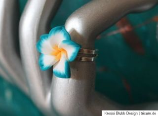 süßer ring hawaii blume aus fimo türkis silber blüte blume sommer
