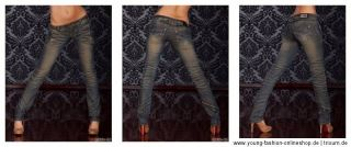 Stretch Damen Jeans Hose Röhre BT Jeans Crazy Age 34 36 38 40 42 Blau
