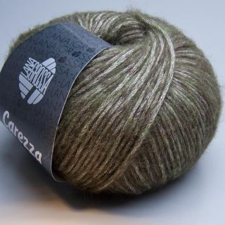 Lana Grossa Carezza 018 olive green / silber 50g Wolle
