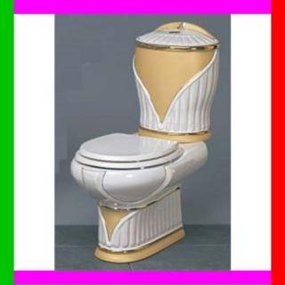 TOILETTE WC+SITZ+SPüLKASTEN BAD ANTIK ALT BAROCK GOLD