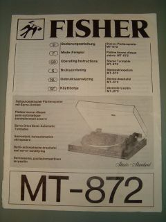 Fisher MT 872 Stereo Plattenspieler ORIGINAL Operating Instructions 6