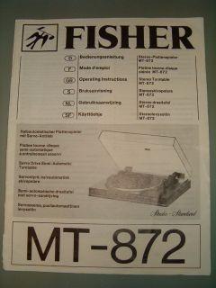 Fisher MT 872 Stereo Plattenspieler ORIGINAL Operating Instructions 6