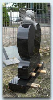 Grabstein + Sockel, Herz mit Cherubim Engel, Granit, Schwarz