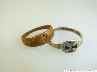 2x Fingerring Ring Patriotisch 800er Silber EK Eisernes Kreuz 1.WK