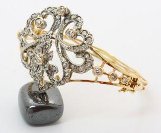 18k Jugendstil Gold Diamant Brillant Armreif Armband Brillantarmreif