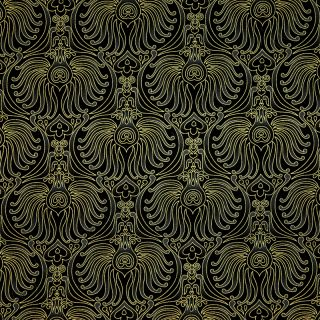 Timeless Treasures Plume Baroque Wallpaper Fans Black Cotton Quilt